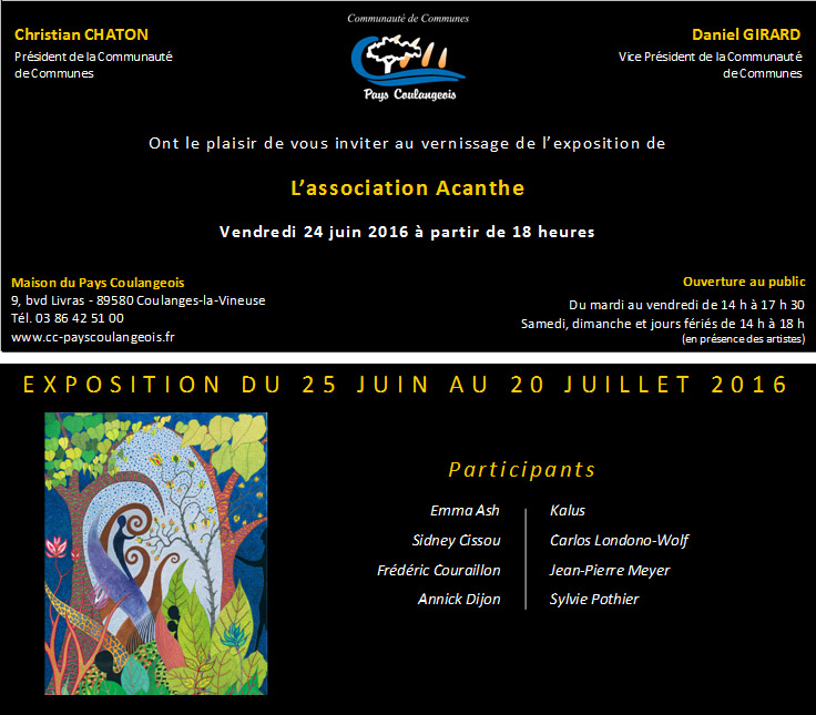 Programme 2016 expos Maison du Pays Coulangeois